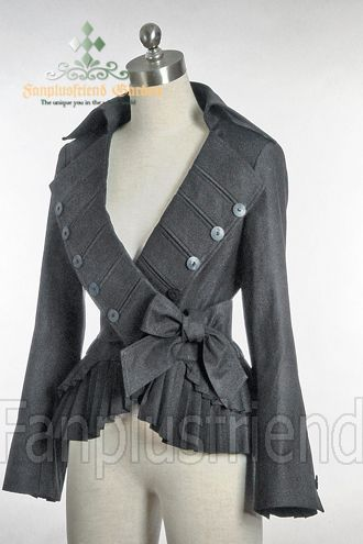 Elegant Goth Gothic Pirate Pleat Short Jacket - fanplusfriend Switch to a color I can wear. It's so gorgeous, and suitable for an actual bust - yay!