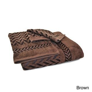 Austin Horn Classics Milano Jacquard 3 Piece Towel Set Brown