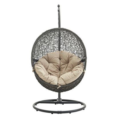 Modway Hide Wicker Hanging Swing Chair In 2020 Patio Swing Chair Swinging Chair Hammock Swing Chair