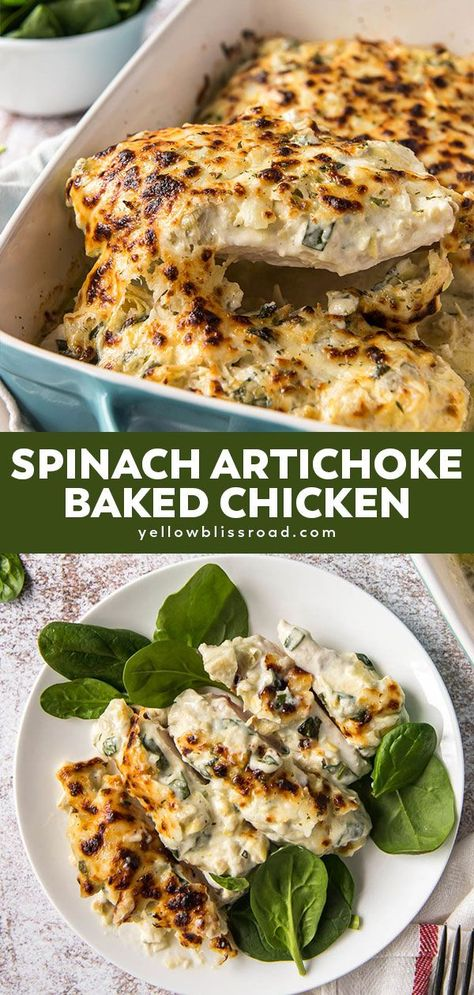 Juicy Baked Chicken, Baked Chicken Breast, Chicken Breasts, Spinach Artichoke Chicken, Spinach Stuffed Chicken, Artichoke Dip, Simple Spinach Salad, Creamy Spinach, Cooking Recipes