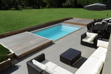Rolling-Deck ouvert avec terasse en ipé et salon de jardin ...