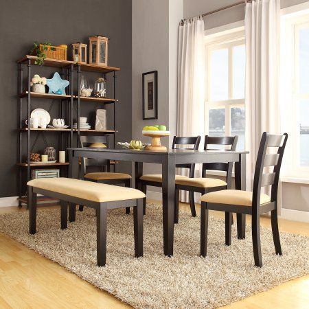 Lexington 6 Piece Large Dining Set With 4 Ladder Back Chairs And