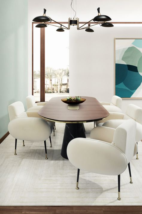 Marco's dining chair by Essential Home is the focus of this inspiration! Learn more at insplosion.com!  #inspirational #interiordesign #interiordesigninspiration #pastelbluediningroom #diningroominspiration #brightdiningroom