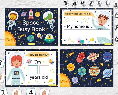 Space Busy Book Printable, Toddler First Busy Book Pdf, Toddler Busy Binder, Preschool Activities, Homeschool Quiet Book Montessori Material