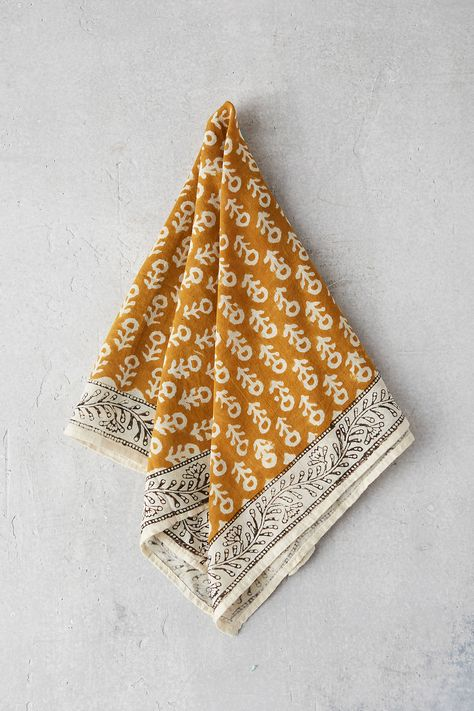 Cotton Block Print Bandana by Anthropologie in Gold, Terrain