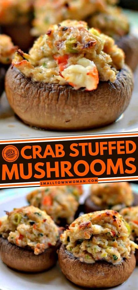 These stuffed mushrooms are easy appetizers bursting with fresh crab, cream cheese, bread crumbs, garlic, and Parmesan giving it a nice and creamy texture. Add this to your 4th of July party menu or even as a Memorial Day food!