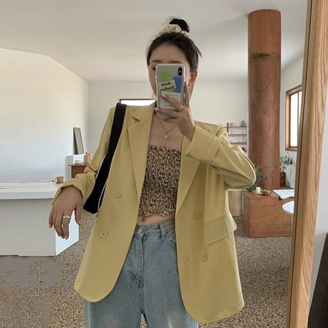60.9US $ |Summer Thin Suit Jacket Female Spring and Autumn 2020 New Korean Style Loose Mid Length Casual Blazer Women Blazers and Jackets|Blazers|   - AliExpress