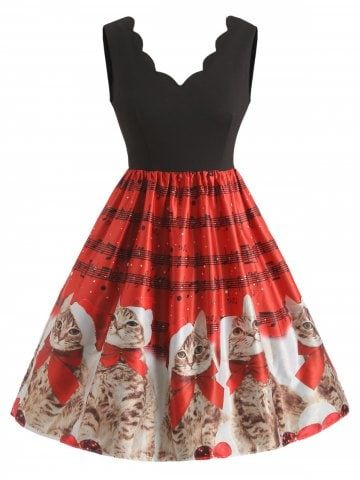 Women Fashion Sleeveless Christmas Cats Musical Notes Print Vintage Flare Dress