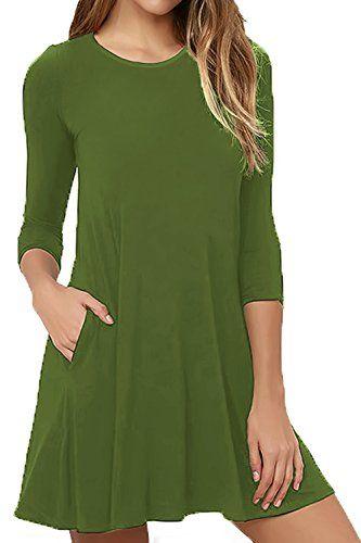 Womens Summer Casual Swing Sundress Half Sleeve Pocket Loose Tunic T-Shirt Dress