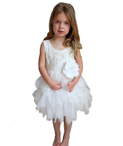 c13454e531b Most Pinned Flower Girl Dress  White lace top with flower detail