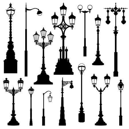 Street Lamp Set Street Lights Retro Collection Street Light Street Lamp Vector Art Design
