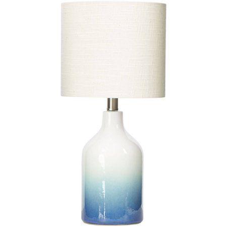 Better Homes Gardens Ombre Ceramic Table Lamp Blue Walmart Com Ceramic Table Lamps Lamp Table Lamp