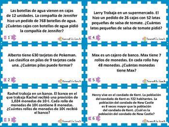 Tarjetas Repaso Solucion De Problemas Multiplicacion Division Matematicas Sequencing Activities Kindergarten Sequencing Activities Activities