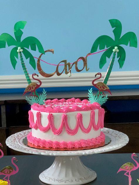 Flamingo Cake Topper - One Smash Cake - pink & gold one cake topper, Flamingo Birthday Party Cake