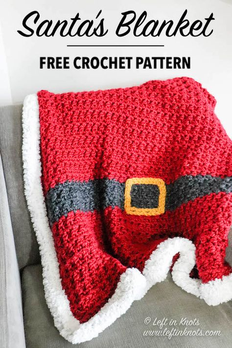 Crochet Santa, Christmas Crochet Patterns, Holiday Crochet, Crochet Blanket Patterns, Crochet Stitches, Crochet Baby, Knit Crochet, Crochet Christmas Blanket, All Free Crochet
