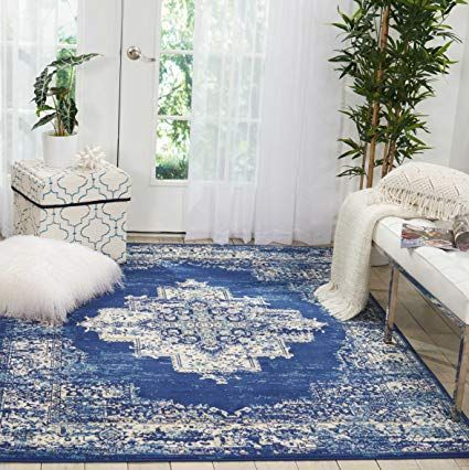 Amazon Com Nourison Grafix Traditional Distressed Navy Blue Area Rug 5 3 X 7 3 Kitchen Dining Area Rugs Rugs Blue Area Rugs