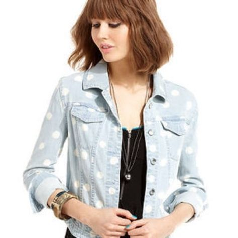 Material Girl Polka Dot Denim Jacket Sz S This Listing Is For A