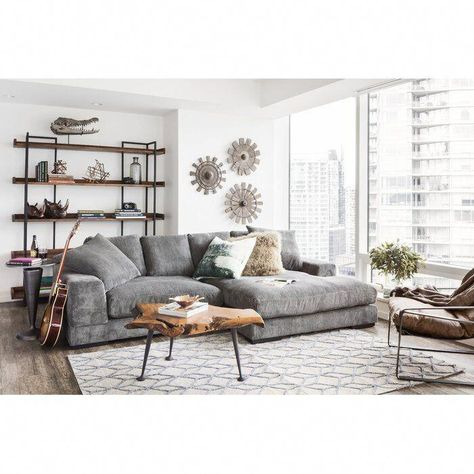 Bohemian Style Home, Br House, Table Design, Boho Living Room, Gray Couch Living Room, Manly Living Room, Masculine Living Rooms, Gray Sofa, Interior Design