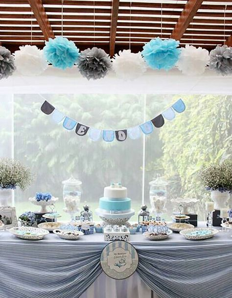 Amazon First Birthday Boy Decorations Baby Blue White Grey Party Tissue Paper Pom Tassel Garland Circle