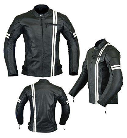 con alta protecci/ón LJ-3021 color negro y blanco Chaqueta de motociclista de piel para hombre