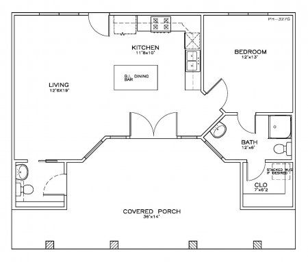 House Plan 5062 - Beach/Coastal 1 bedroom 1 1/2 bath 723 Sq Ft ...