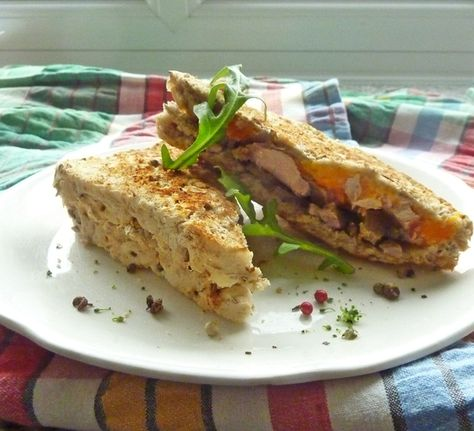 Toasted Sandwich of Roasted Leftovers (duck and butternut squash with roasted garlic mayonnaise).