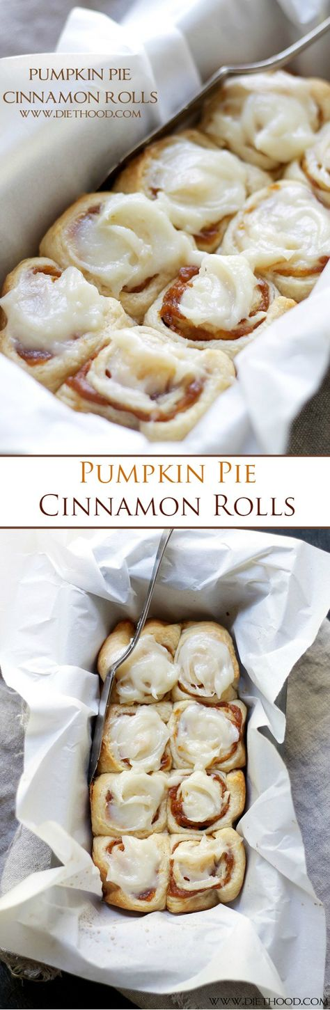 Cinnamon Rolls filled with a delicious pumpkin pie filling and topped with an incredible pumpkin pie spice cream cheese frosting