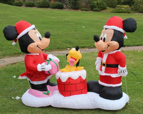6 Ft Christmas DISNEY Gemmy Airblown Inflatable MICKEY & MINNIE MOUSE w/ PLUTO