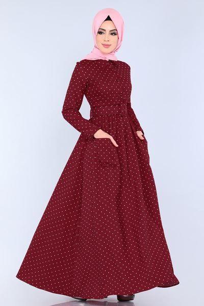 Modaselvim Elbise Puantiyeli Kemerli Elbise 9068w153 Bordo Elbise The Dress Elbise Modelleri