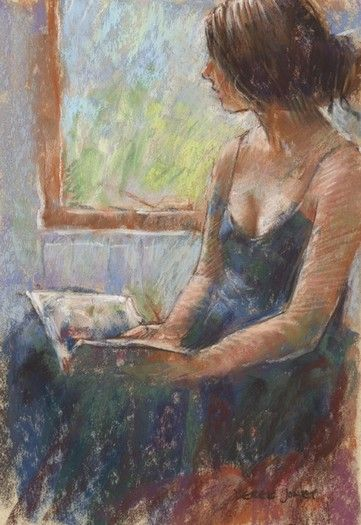 2 watercolors. Interior with Bible reading woman and