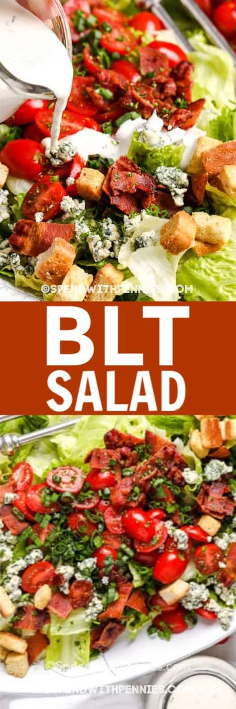 This BLT salad recipe is made with classic ingredients like bacon, lettuce, and tomatoes. Try adding boiled eggs, avocado, or shredded chicken for a hearty and delicious entree! #spendwithpennies #bltsalad #easysaladrecipe #creamydressing #salad #maincourse #sidesalad #bltchoppedsalad