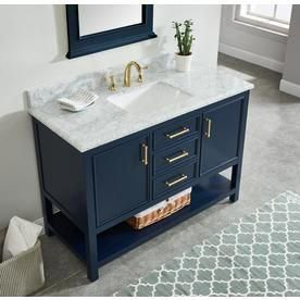 Allen Roth Presnell 49 In Navy Blue Single Sink Bathroom Vanity With Carrara White Natural Marble Top Lowes Com Single Sink Bathroom Vanity Blue Bathroom Vanity Bathroom Vanity