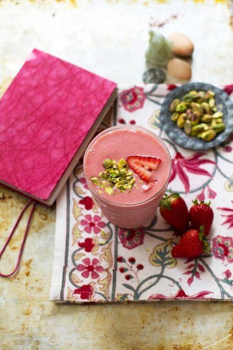Strawberry Rosewater Cardamom Lassi Recipe | @saltandwind | http://saltandwind.com