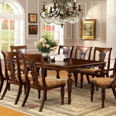 8 Seater Dining Table Set Hand Carved Teak Formal Dining Tables