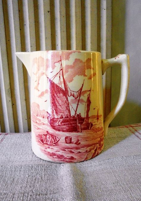 French earthenware WATER JUG with BOATS in Pink di villavillacolle su Etsy
