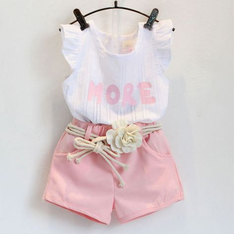 New Baby Children clothes sets for girls Fly sleeve Flower Cotton shirt + shorts summer set sport
