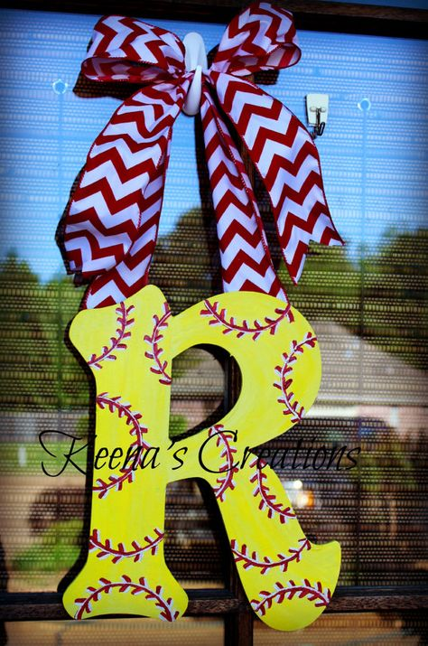Softball Monogram 22 inch Single Letter by keenascreations on Etsy, $40.00