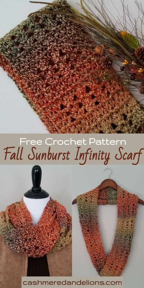 A free and easy crochet pattern for a gorgeous infinity scarf! Today I'd like to share my free crochet scarf pattern for the Fall Sunburst Infinity Scarf. Loop it once for a long scarf or twice to create a cowl! Crochet Infinity Scarf Free Pattern, Crochet Scarf Easy, Crochet Fall, Easy Crochet Patterns, Crochet Cowls, Crochet Scarves, Diy Crochet Infinity Scarf, Infinity Scarf Patterns, Fall Knitting Patterns