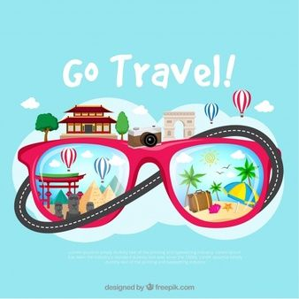 Background with travel elements in glasses | اعلانات in 2019