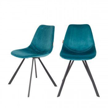 Lot De 2 Chaises En Velours Bleu Canard Franky Dutchbone Chaise Tabouret Tabouret Design