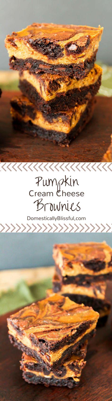 Pumpkin Cream Cheese Brownies |   http://domesticallyblissful.com/pumpkin-cream-cheese-brownies/