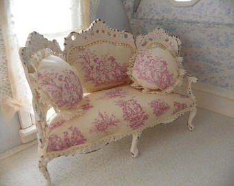 French Shabby Chic Sofa 1 12 Scale With Images Shabby Chic Sofa Shabby Chic Furniture Shabby Chic Room