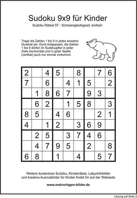 sudoku einfach 9x9  sudoku sudoku kinder rätsel für kinder