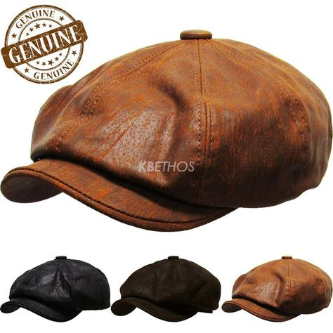 a3e55bc8e096d 100% Genuine Leather Mens Ivy Hat Golf Driving Ascot Flat Cabbie Newsboy   KBETHOS  NewsboyCabbie