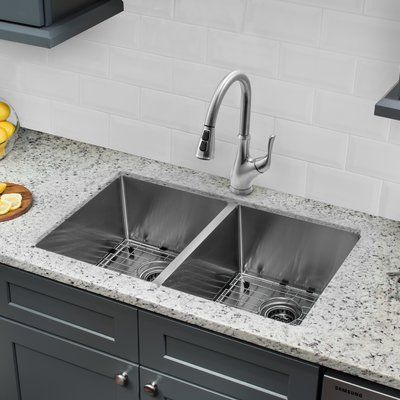 Cahaba 32 L X 19 W Double Basin Undermount Kitchen Sink With Faucet Undermount Kitchen Sinks Kitchen Sink Remodel Double Bowl Undermount Kitchen Sink
