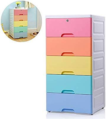 Nafenai 5 Drawer Dresser Chest Of Drawer Plastic Small Storage Dresser Cabinet With Lock And Wheels F Plastic Cabinets Plastic Storage Drawers 5 Drawer Storage