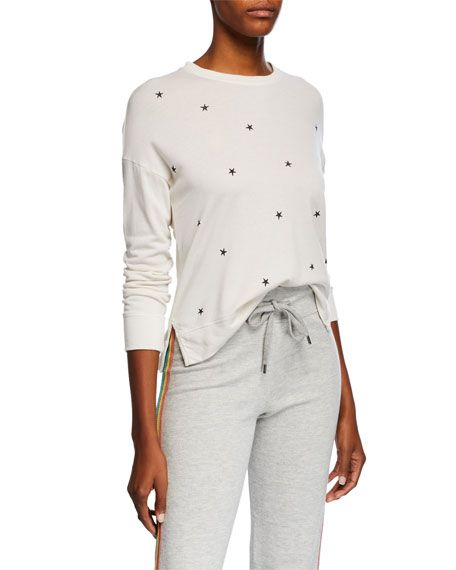 SUNDRY Womens High Low Heart Pullover Sweatshirt
