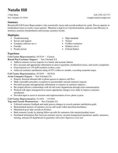 Customer Service Call Center Resume Resume Examples Resume Objective Statement Professional Resume Examples