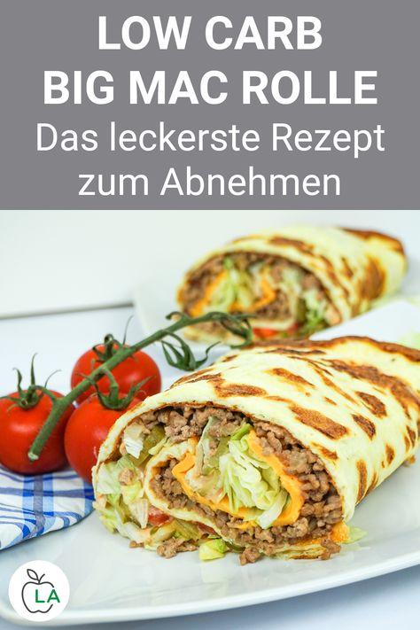 Diese Big Mac Rolle ist ein leckeres Low Carb Rezept mit Fleisch. Sieh dir hier die deutsche Anleitung für das gesunde Abendessen zum Abnehmen an. #gesundheit #diät #abnehmen