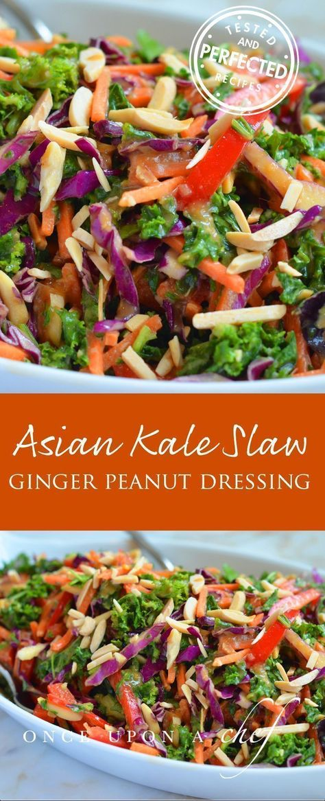 Asian Kale Salad with Ginger Peanut Dressing #asiansalad #kalerecipes